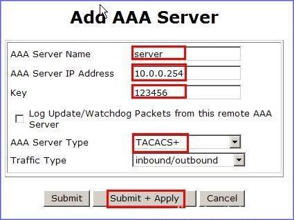 Cấu hình thông số cho AAA server
