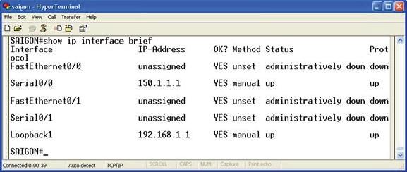 Cấu hình các Interface trên Router SAIGON
