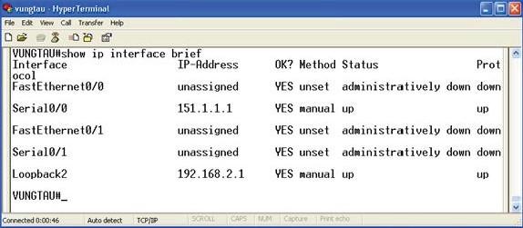 Cấu hình các Interface trên Router VUNGTAU