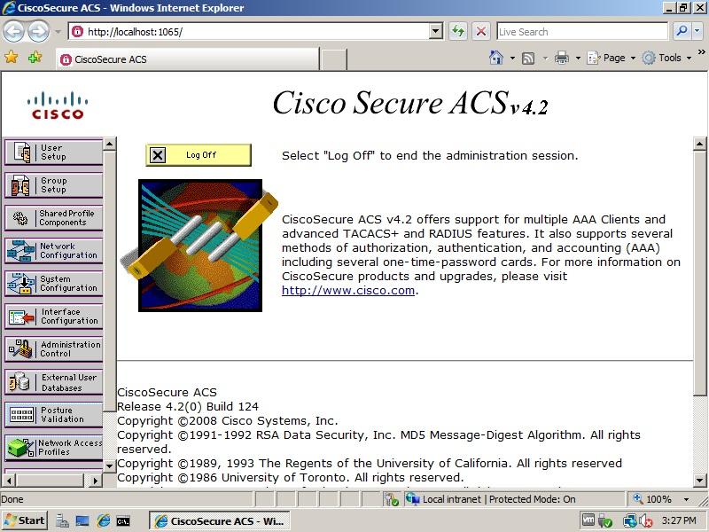 Hình 2.5 Giao điện máy chủ Cisco Sucure ACS